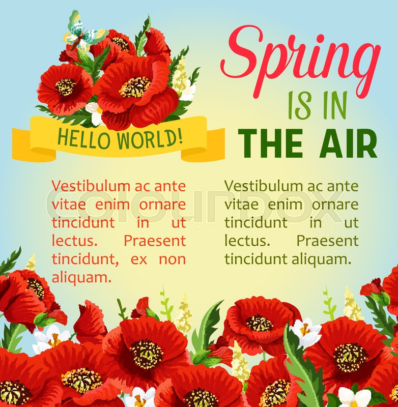 Spring is in the air vector floral poster for springtime holidays flowers bouquets design of blooming poppy flowers bunches and jasmine on green spring field with butterflies and greeting quotes stock mightylinksfo