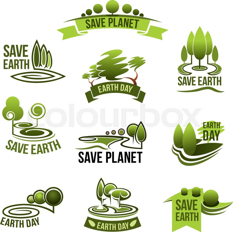 Save Earth Icons For Green Nature And Planet Environment