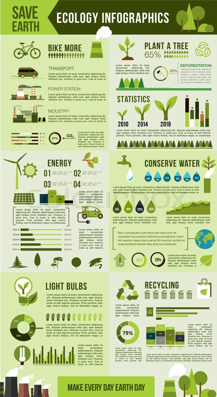 Ecological Environment Infographic Green Energy Recycle Tree