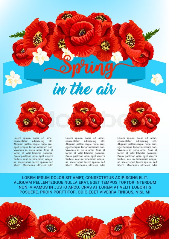 Spring is in the air vector poster design of poppy flowers and spring is in the air vector poster design of poppy flowers and cherry blossom bunches springtime holiday greeting quotes with blooming flower bouquets and mightylinksfo