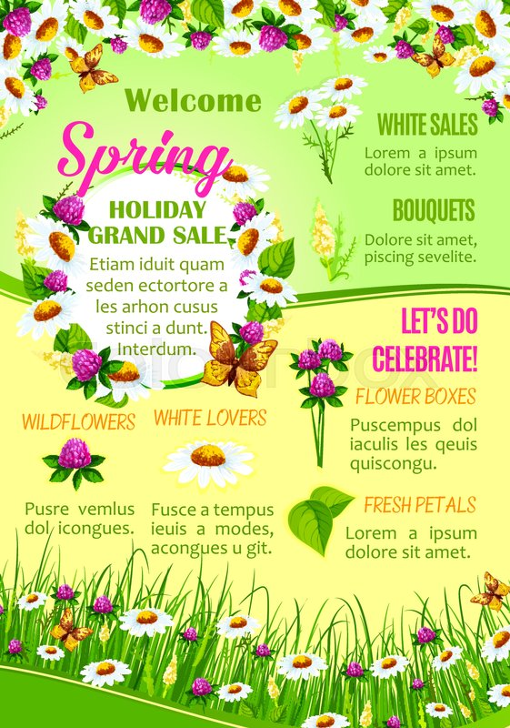 Spring flowers sale poster template for flower shop design floral spring flowers sale poster template for flower shop design floral banner with flower box bouquet wildflower and fresh petal discount price offer mightylinksfo
