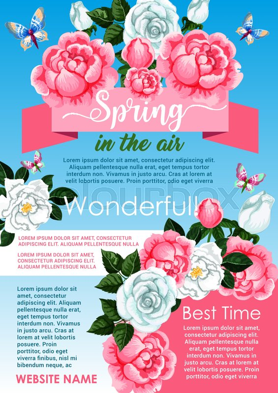 Spring flower wreath greeting poster template white rose and pink spring flower wreath greeting poster template white rose and pink peony flowers frame blooming bouquet adorned by ribbon banner and butterflies for mightylinksfo