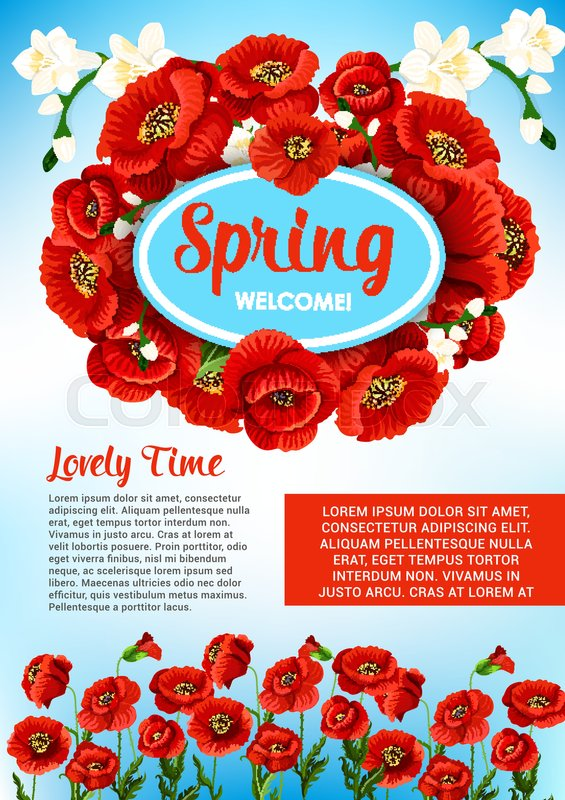 Welcome spring poster template for springtime holiday greetings and welcome spring poster template for springtime holiday greetings and quotes spring nature design of blooming poppy and orchid or cherry blossom bouquets and mightylinksfo
