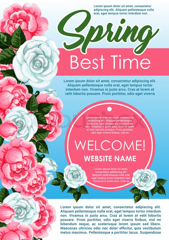 Spring season floral poster template blooming spring flowers frame spring season floral poster template blooming spring flowers frame border with white roses pink peony green leaves and branches for web banner and client mightylinksfo
