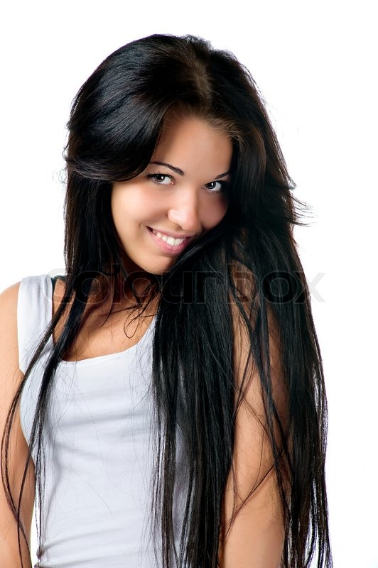 Woman With A Long Beautiful Hair On White Background -9758