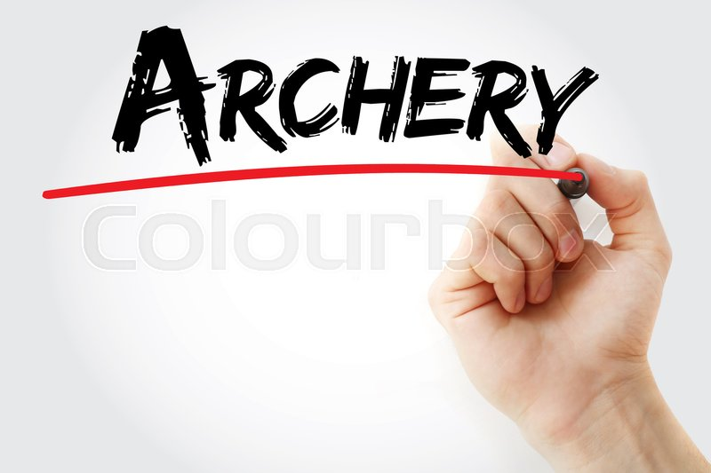 Hand writing Archery with marker, sport ...