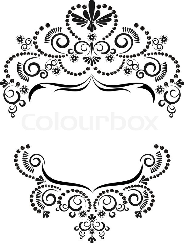 Dark ornamental frame on a white background. Graphic | Stock Vector ...