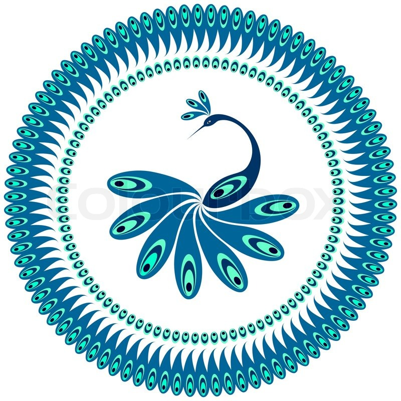decorative plate with peacock stock vector colourbox rh colourbox com peacock vector logo peacock vector designs