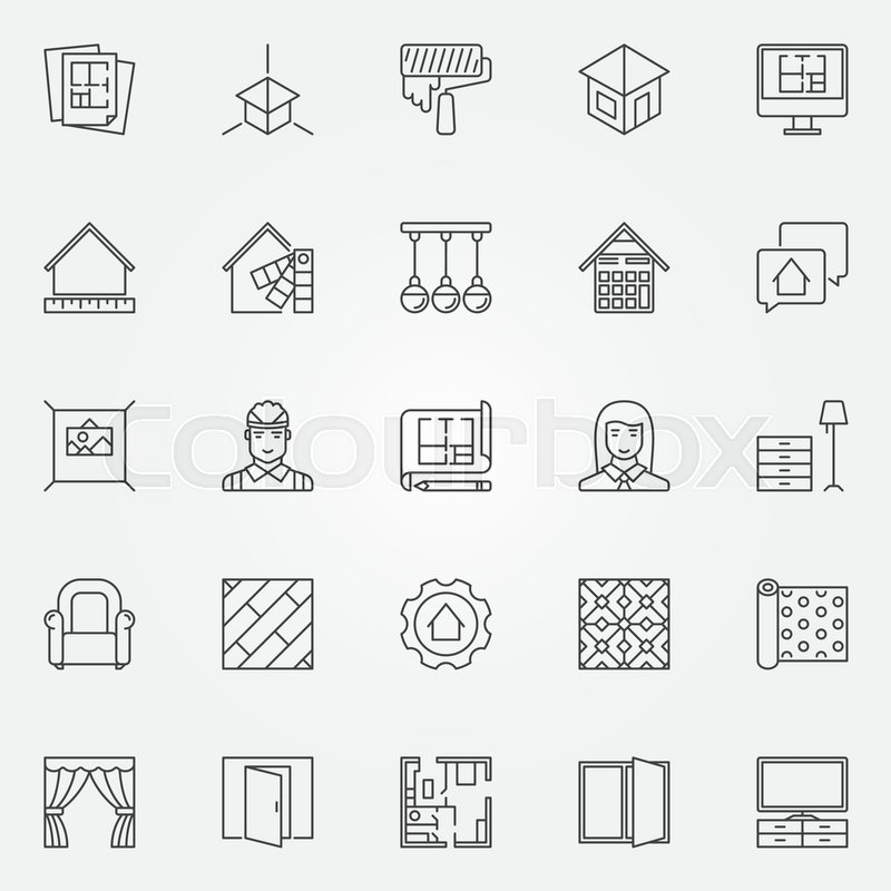 Interior design icons set Vector architecture symbols for design