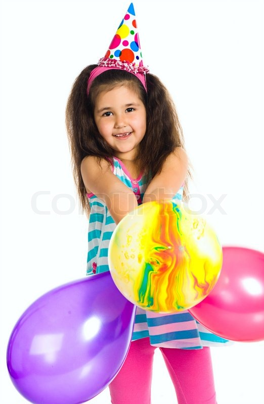 Little Girl In Birthday Cap Isolated On White Stock Photo Colourbox