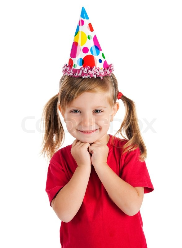 Funny Girl In Birthday Cap Isolated On White Stock Photo Colourbox