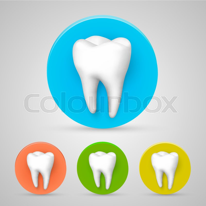 Tooth Set Color Collection Template Design Element Vector