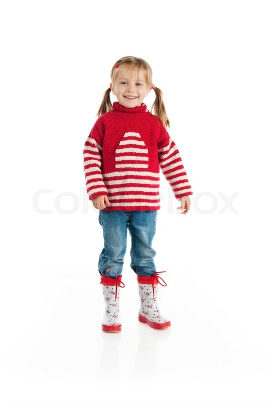 Little Girl Wearing Sweater And Gumboots Isolated On White