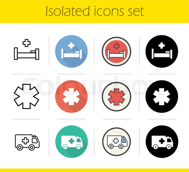 Ambulance Icons Set Flat Design Linear Black And Color Styles