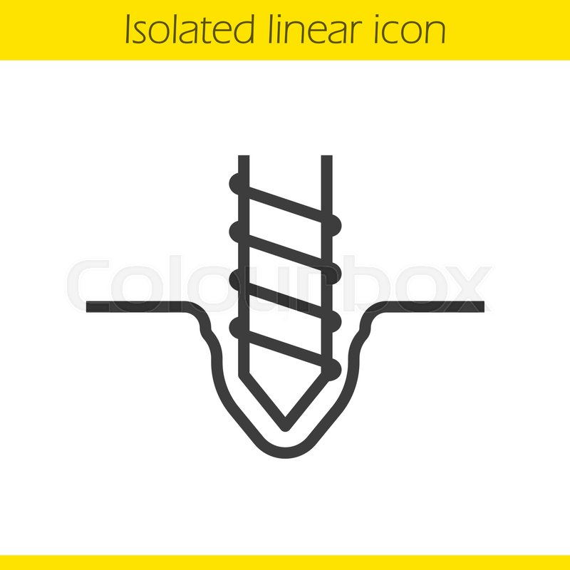 Drilling linear icon. Thin line illustration. Rotating ...