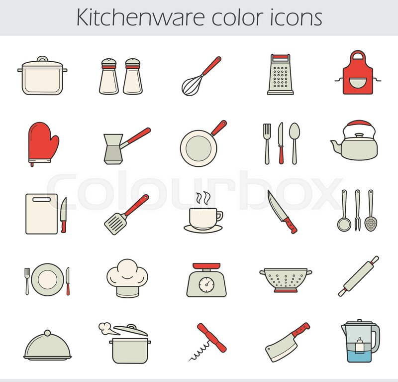 Kitchen Utensils Pictures And Names: Cooking Instruments Color Icons Set. ...