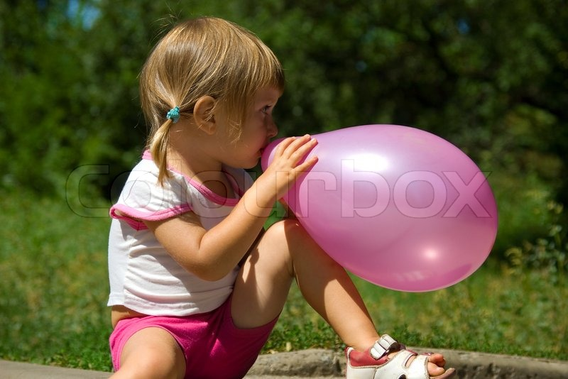 Cute Little Girl With Balloon Stock Photo Colourbox