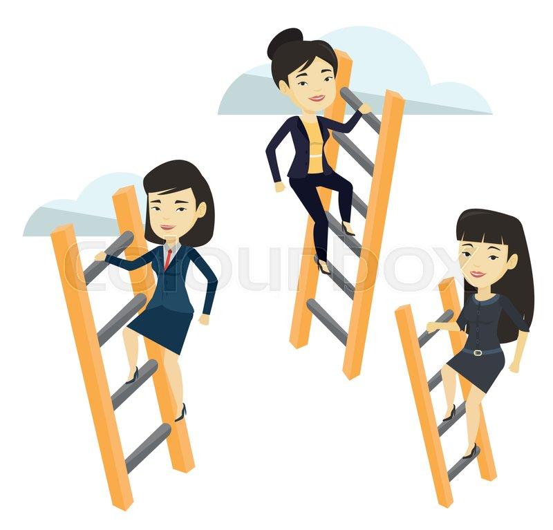 Business Women Climbing The Ladders Business Women