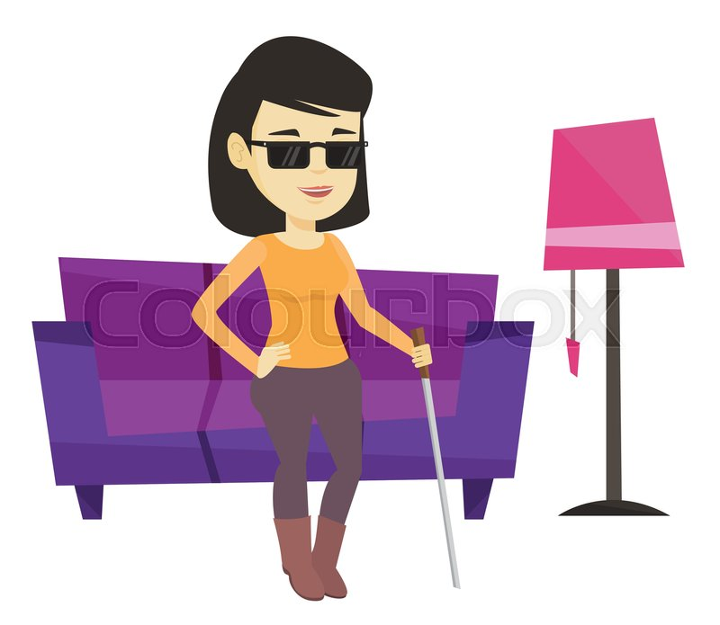 asian blind woman standing with walking stick at home blind woman