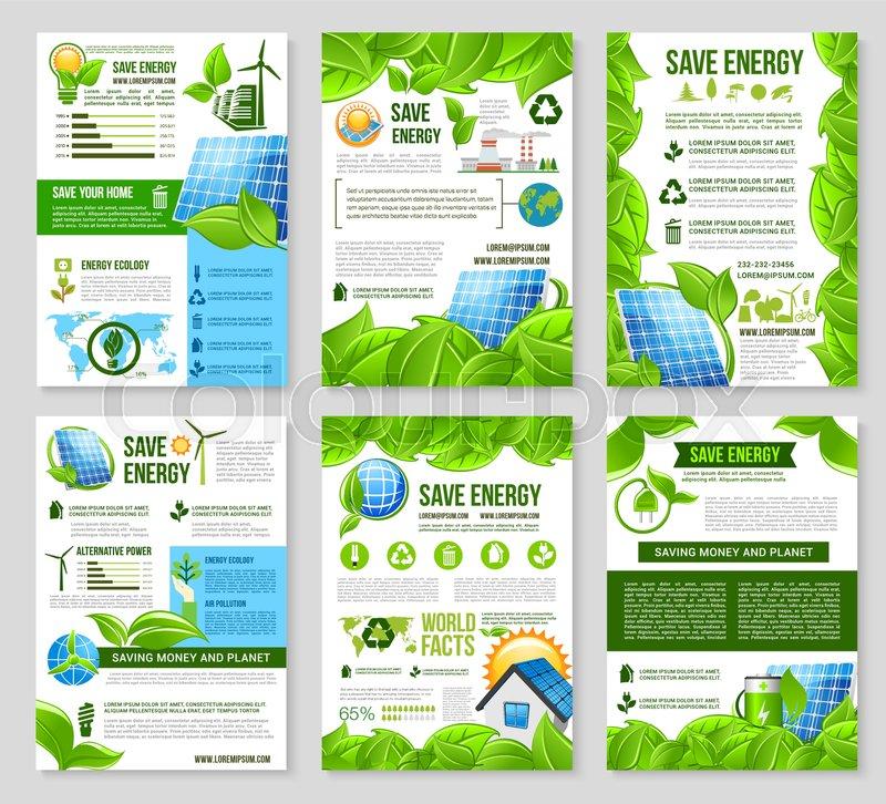 Save Energy Poster Template Set Solar Panel Wind Turbine
