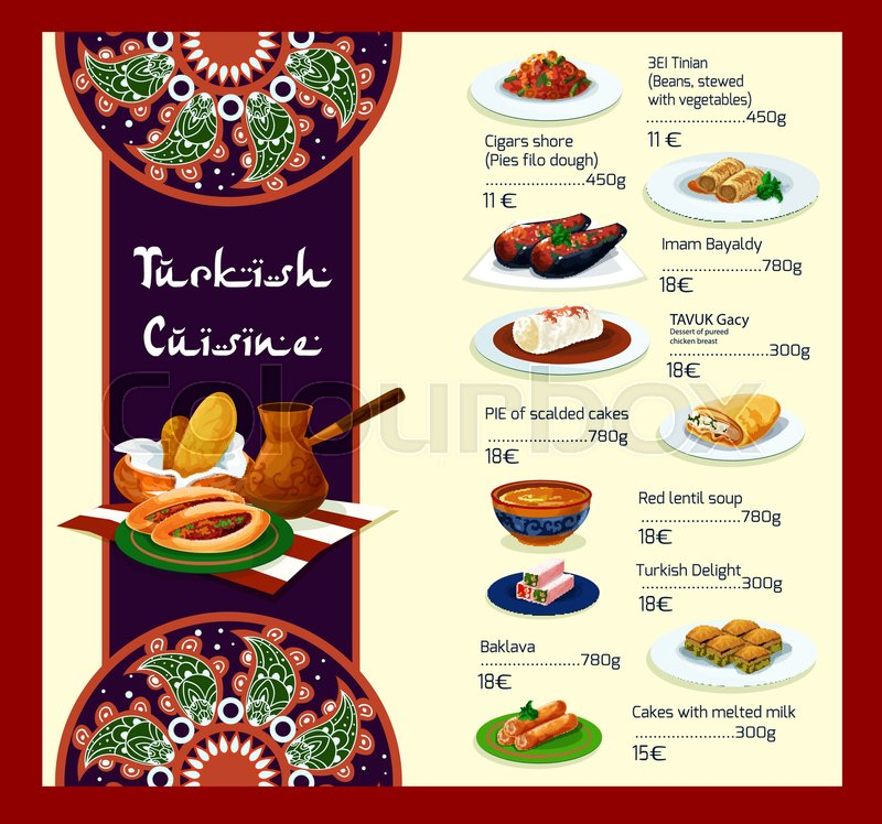 Turkish restaurant vector menu template cover design with turkish restaurant vector menu template cover design with traditional turkey cuisine meat dishes vegetable salads and soups or appetizer snacks and forumfinder Gallery