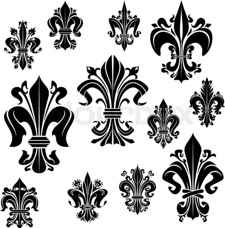 Fleur De Lis Vector Icons Of Heraldic Royal Lily Flower French