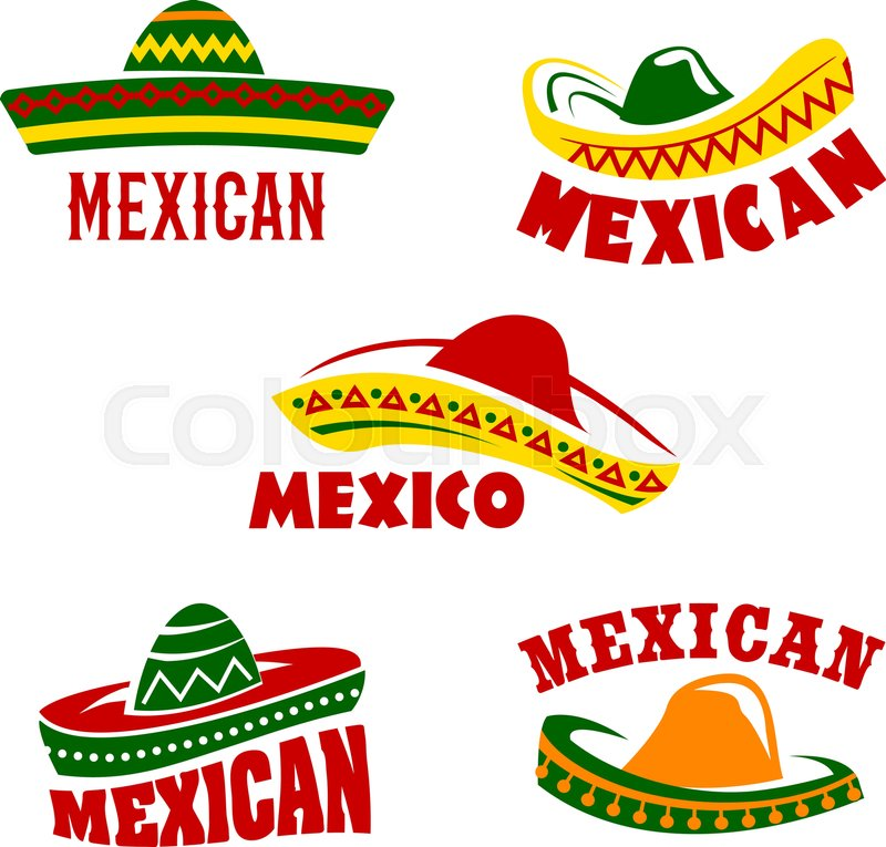 Mexican Restaurant Vector Icons Set Isolated Symbols Of Traditional
