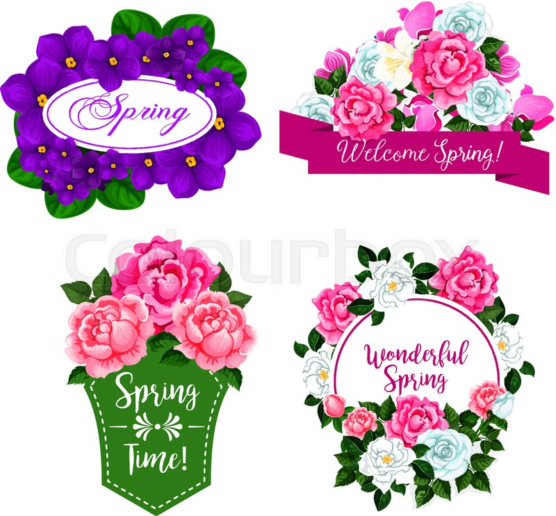Spring Time isolated icons design of flowers and floral bouquets ...