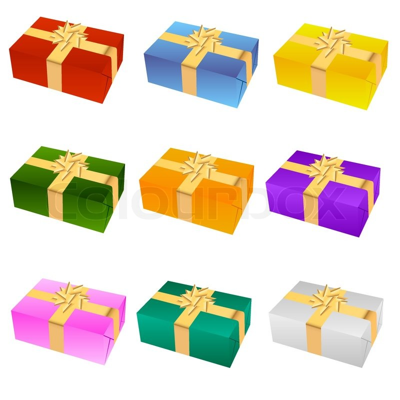 Nine different color of gift box stock vector colourbox negle Gallery