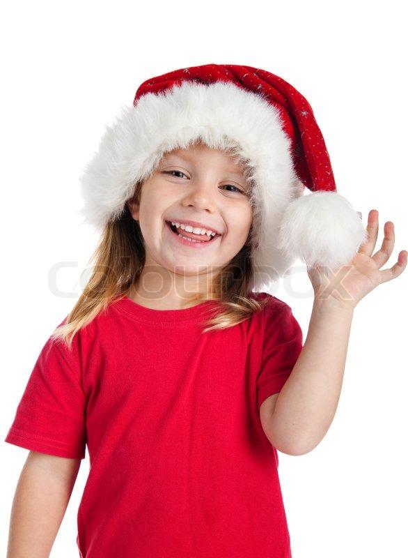 59a4ba211e4 Cute little girl in the santa claus hat
