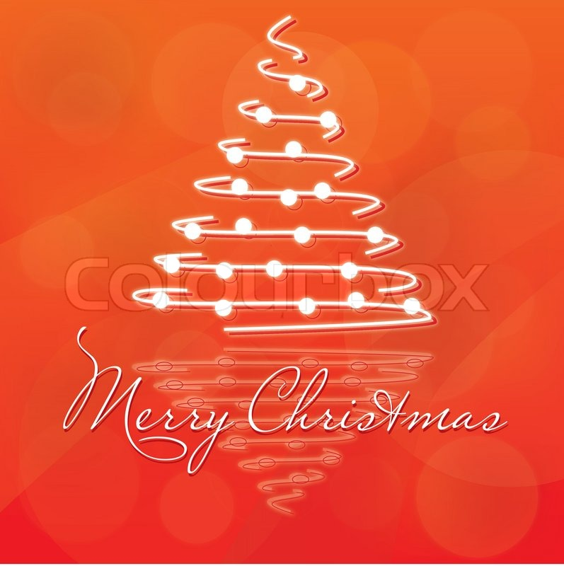 merry christmas christmas tree on orange background stock vector colourbox - Orange Christmas Tree