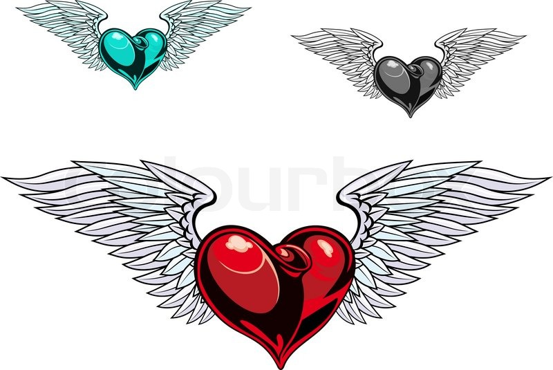 Stock vector of 'Retro color heart with wings for tattoo design'
