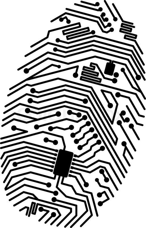 motherboard fingerprint for security or computer concept