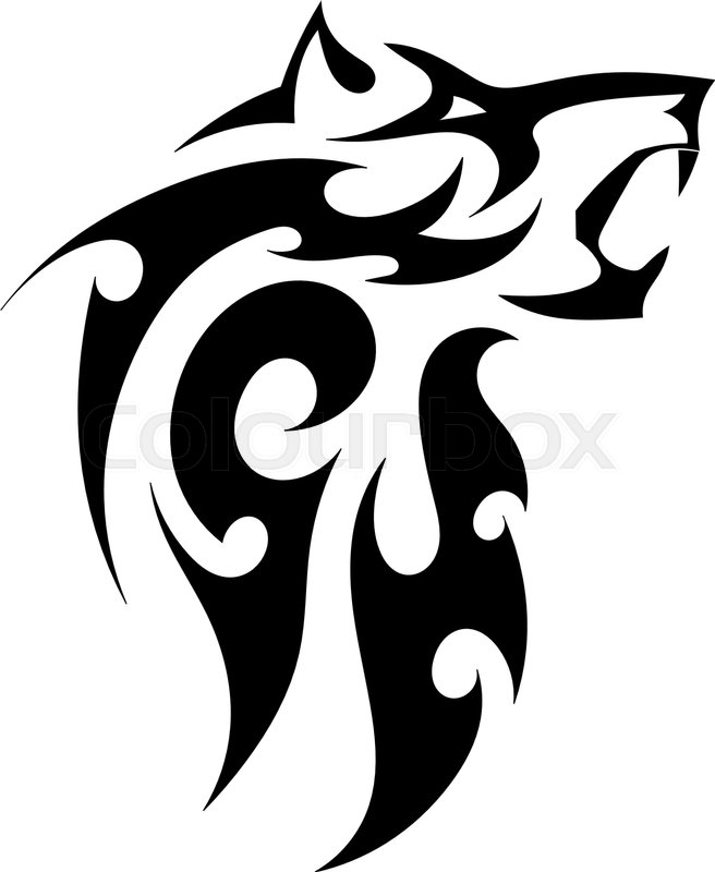 Abstract Vector Tattoo Of A Strong Wolf On A White Background Angry