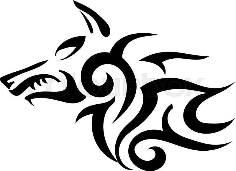 Vector Tattoo Of A Wicked Strong Wolf On A White Background Sharp