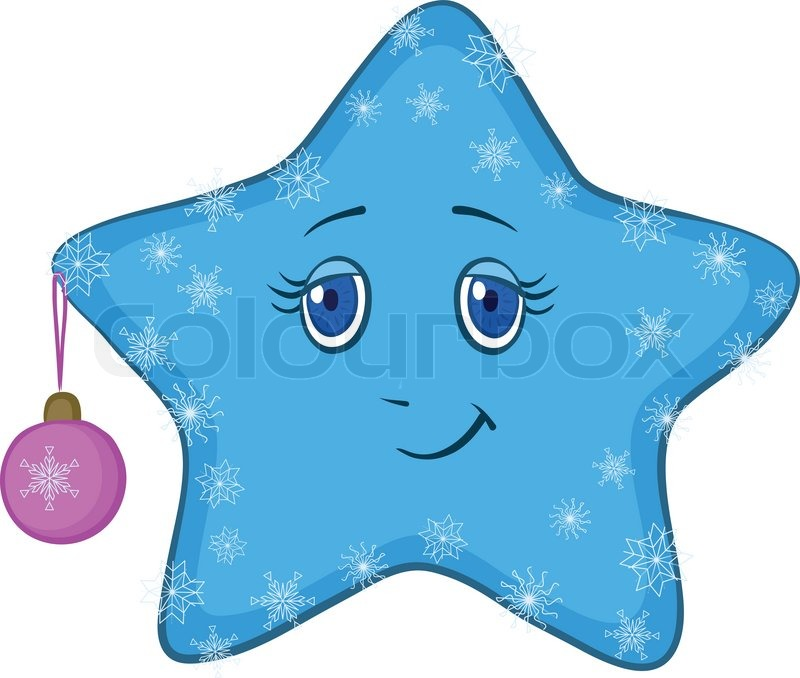 Cartoon blue smiley star with holiday christmas ball and