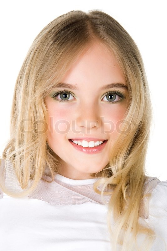 Close-Up Portrait Of A Beautiful Little Girl On White -5809