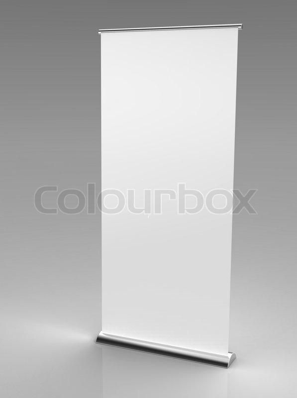 3d render of a blank roll up banner on a gray background stock photo