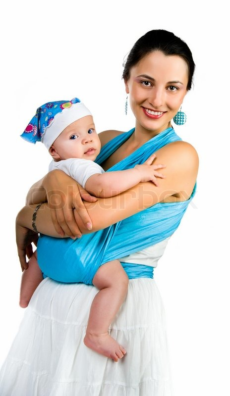 Happy Young Mother Holding Her Baby Boy Sitting Over White
