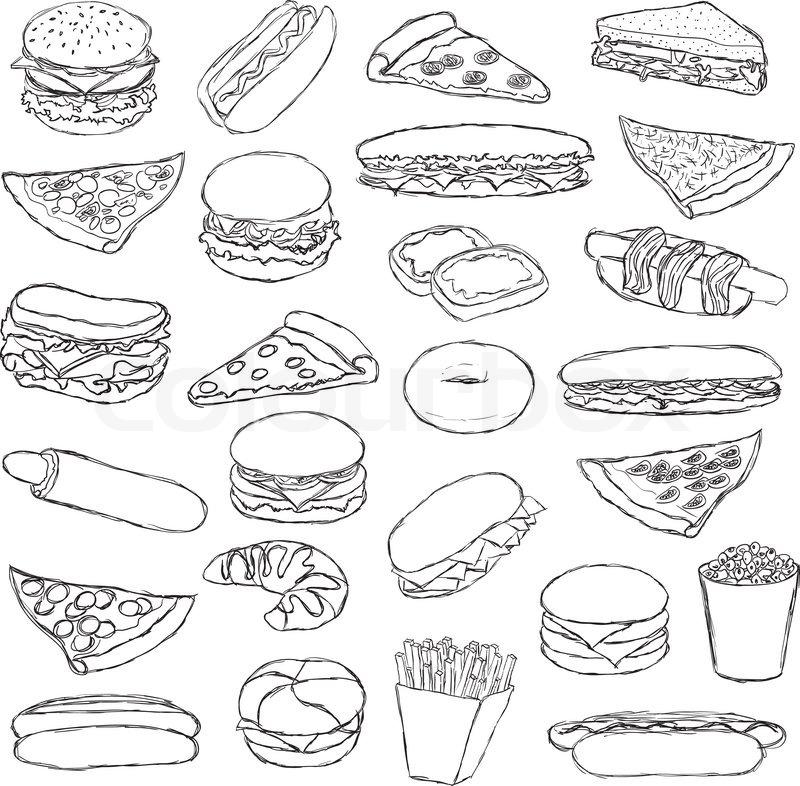 Big Doodle Fast Food Set Stock Vector Colourbox