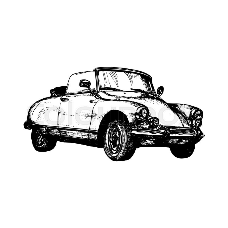 Hand drawn sketch of classic car, vintage car, transport or ...