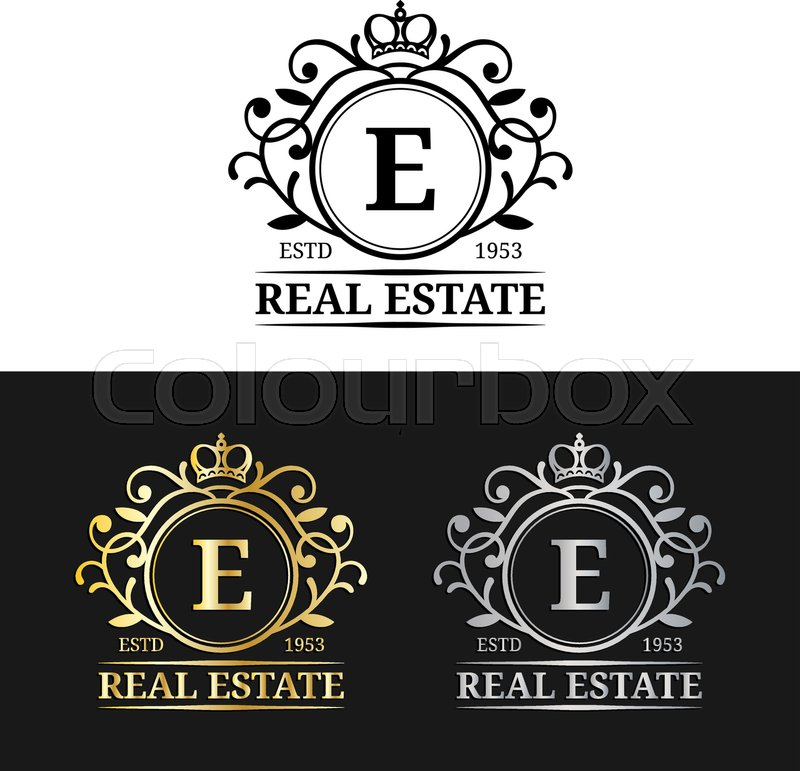 Vector real estate monogram logo templates luxury letters design vector real estate monogram logo templates luxury letters design graceful vintage characters with crown symbols illustration used for invitation stopboris Images