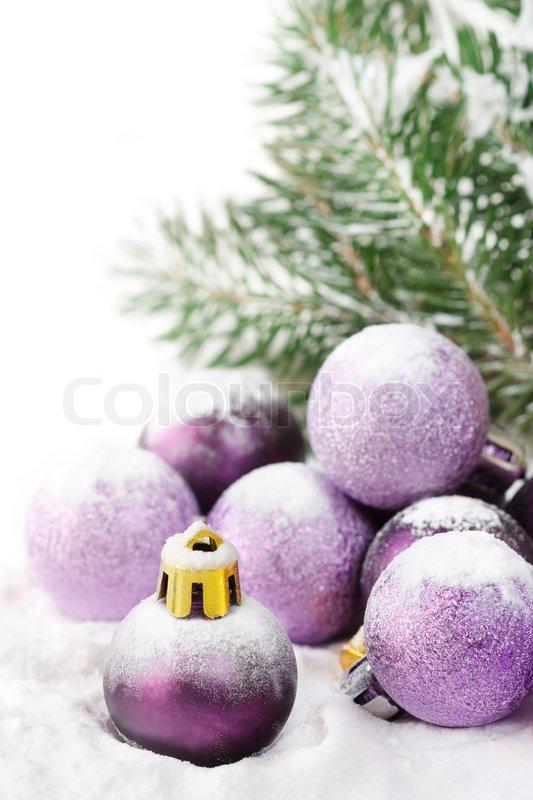 Fir und lila christbaumkugeln mit schnee stockfoto colourbox - Christbaumkugeln lila ...