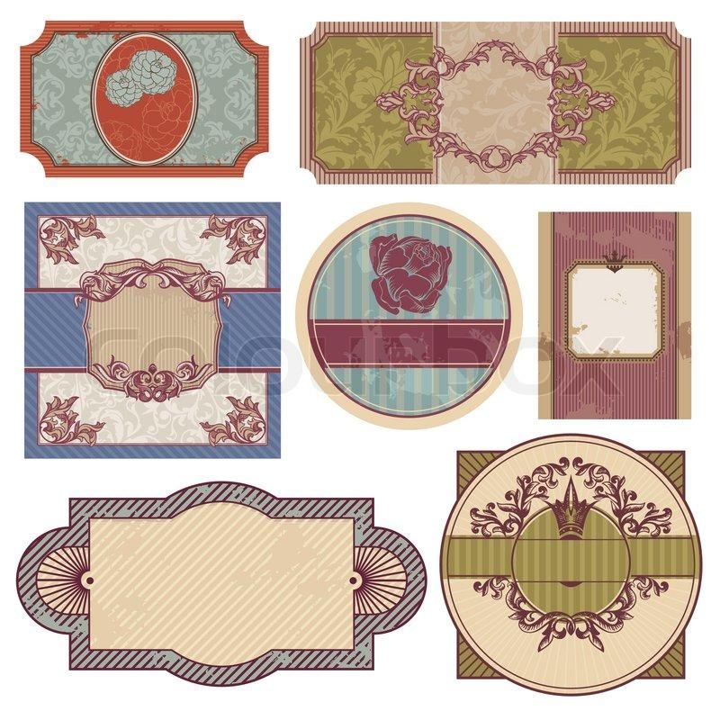 satz von retro vintage vektorgrafik colourbox. Black Bedroom Furniture Sets. Home Design Ideas