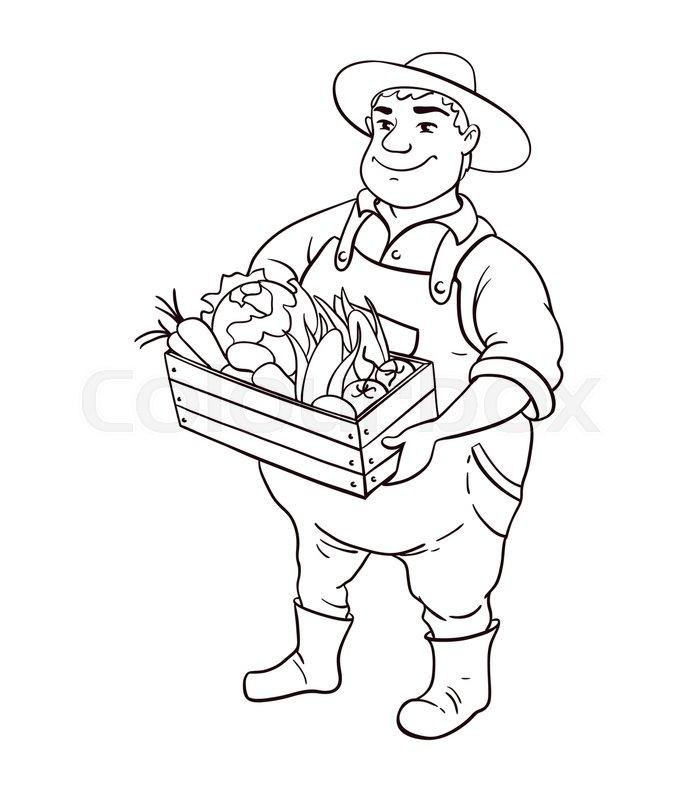 Farmer Lineart Vector Character