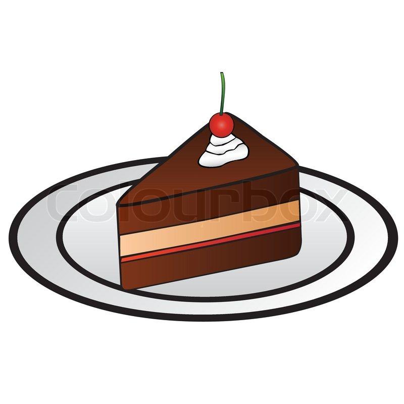 Clipart Slice Of Cake On A Plate : Ein Stuck Kuchen mit Erdbeeren auf dem Teller ...