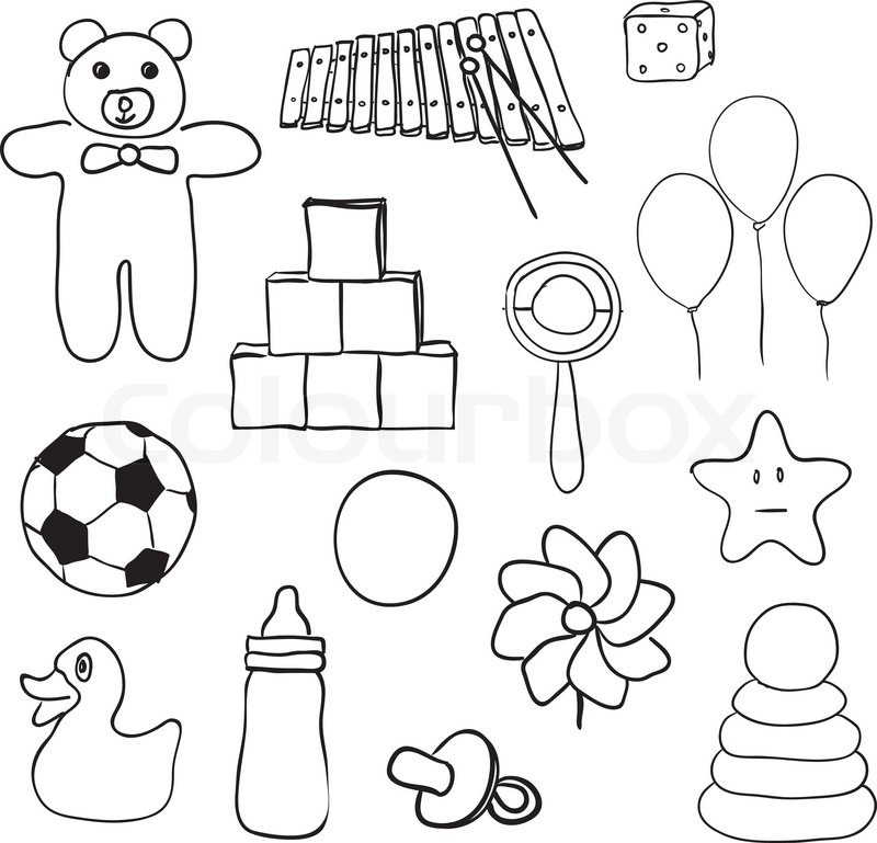 Drawings Of Toys For Boys : Spielzeug sammlung farben schwarz und weiß