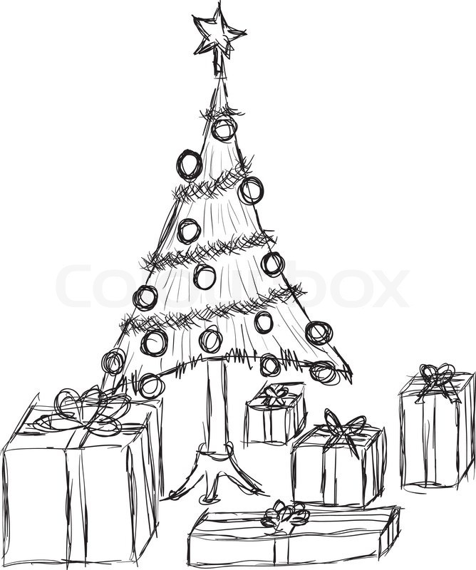 doodle weihnachtsbaum und geschenke vektorgrafik colourbox. Black Bedroom Furniture Sets. Home Design Ideas