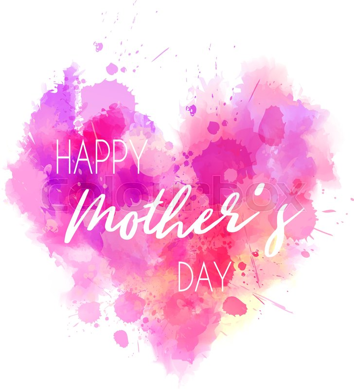 watercolor imitation pink heart with happy mother s day text design