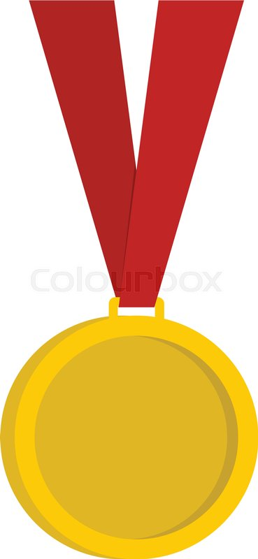 Gold medal icon flat isolated on white     | Stock vector